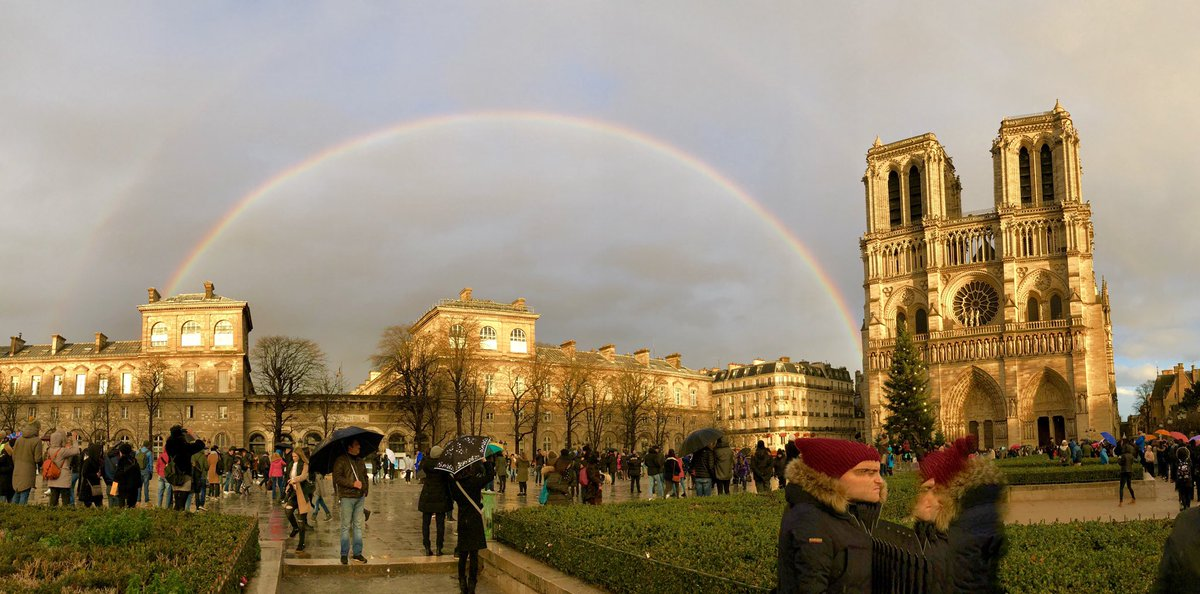 I took a picture of this incredible rainbow when I was most recently at NotreDame last year ... promise at the end of a storm.❤️🇫🇷 #NotreDameCathedral #notredame #NotreDameDeParis #cathedral #fire