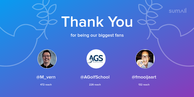 Our biggest fans this week: <strong>@M_vern</strong>, <strong>@AGolfSchool</strong>, <strong>@fmooijaart</strong>. Thank you! via https://t.co/pIxmrdMfrm https://t.co/iVyDLTQpsj
