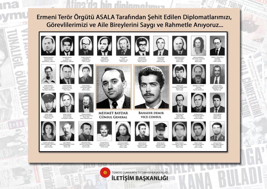 """Fahrettin Altun on Twitter: """"Ve... #ŞehitDiplomatlarımızıUnutmadık ASALA terör örgütü tarafından katledilen şehit diplomatlarımızı saygı ve rahmetle anıyoruz. Ruhları şad olsun...… https://t.co/oKNG4aS0ov"""""""