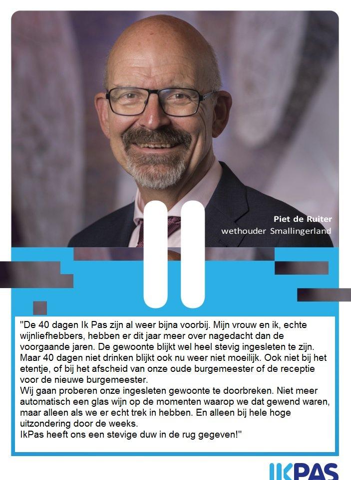 45c40898d0320d Ook wethouder Piet de Ruiter van   Smallingerland deed succesvol mee aan   ikpasnl ! Het kostte hem niet veel moeite