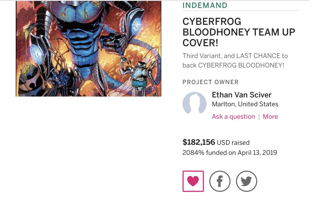 $182,000!  And we're still going!  $810,000 total raised for CYBERFROG:BLOODHONEY!