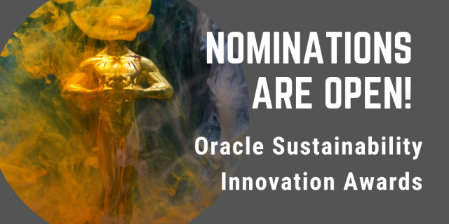 Nominations are open for the Oracle Sustainability Innovation Awards! select customers &amp; their partners who use Oracle products to reduce environmental footprint #Sustainability #Innovation @Oracle #emeapartners @Oracleemeaps @fjtorres @Oraclepartners  http:// bit.ly/2Dw35T4  &nbsp;  <br>http://pic.twitter.com/NghUUadrzo