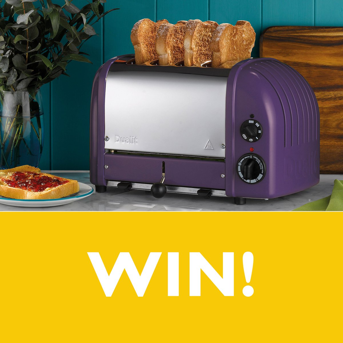 We&#39;re offering one lucky winner a 4 Slot Classic Toaster in Plum! Hand assembled in the UK, our iconic design is coveted by many. RT this tweet and make sure you are following us for your chance to win. #Competition closes midnight 26 April - T&amp;Cs here  http:// bit.ly/Dualit-Comp  &nbsp;  <br>http://pic.twitter.com/txDmCPqkV6