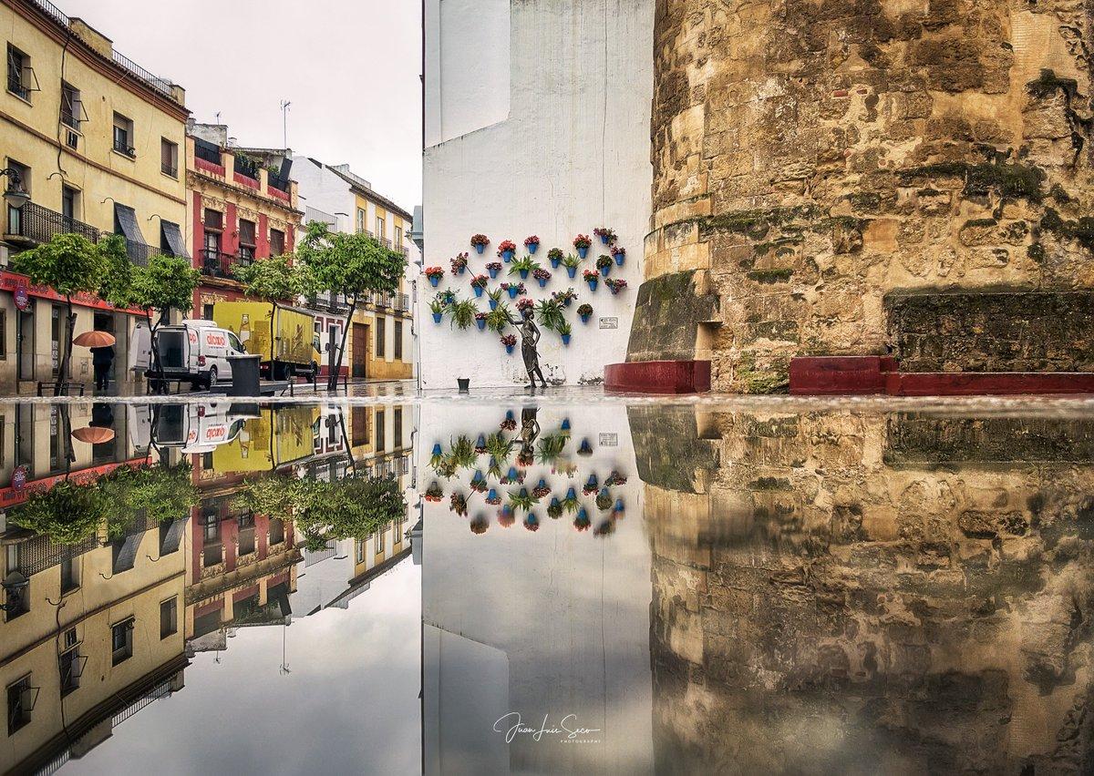 Espejos de agua de en días de lluvia... Puerta del Rincón ~ Córdoba. La regadora reflejada en unos de los bancos de granito que acompañan al monumento. #FelizMiércoles  @CordobaESP @MencantaCordoba @VerCordoba @HistoriasDeLuz @TurismoAndaluz @viveandalucia