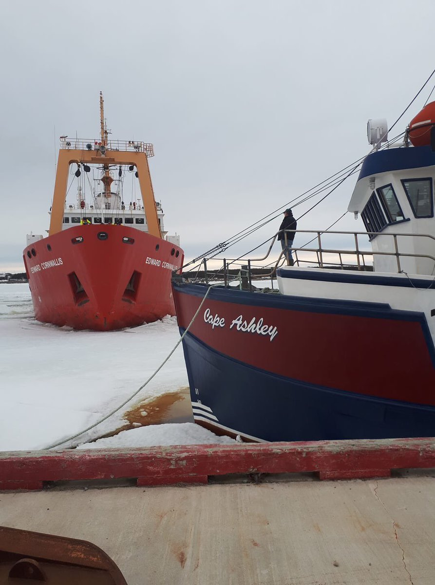 My fathers boat being freed from the ice in Port au Choix.