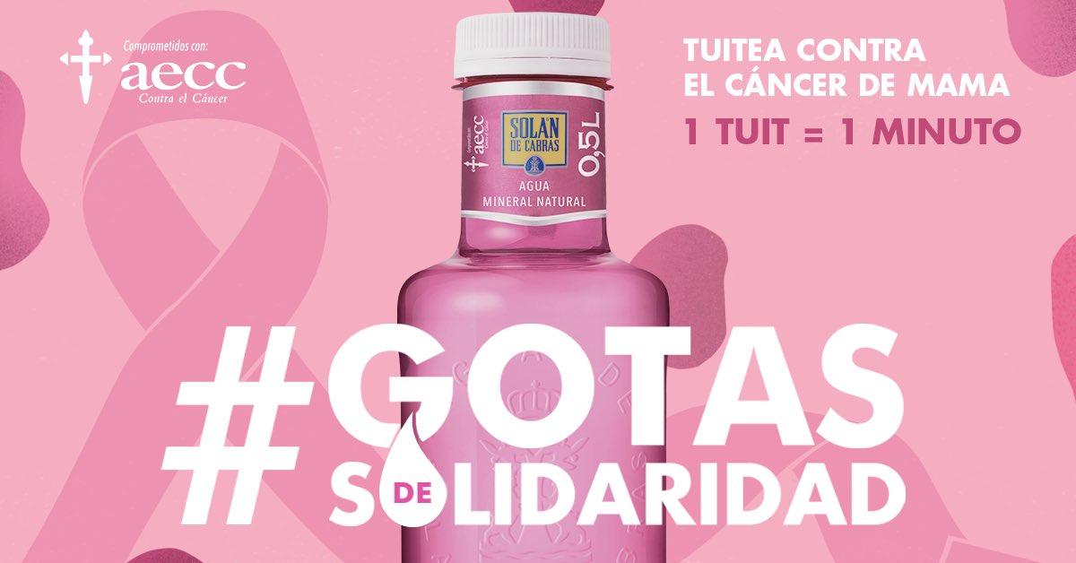 Con sólo un tuit puedes ayudar a todas aquellas personas que luchan diariamente contra el cáncer. ¡Tuitea #GotasdeSolidaridad, dona minutos de atención psicológica! 📞 Infocáncer: 900 100 036 @Solan_de_cabras @aecc_es
