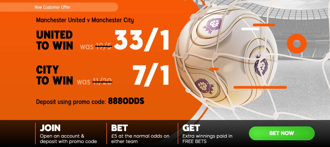 888SPORT ENHANCED ODDS! Man Utd to win @ 33/1 -----OR----- Man City to win @ 7/1 Choose your offer HERE > footy.ac/MUFC33to1MCFC7… New Customer Offer T&Cs apply 18+ begambleaware