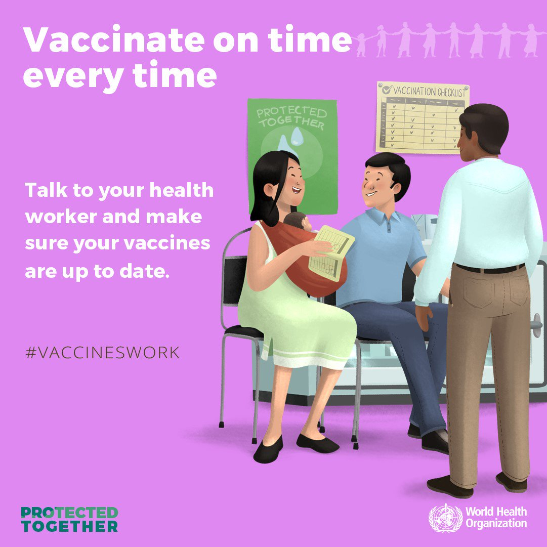 It's World Immunization Week!  Ensure you and your family are vaccinated on time, every time. Check with your health worker to see if your vaccines are up-to-date.   Yes, #VaccinesWork! 👉http://bit.ly/2ICUZMx