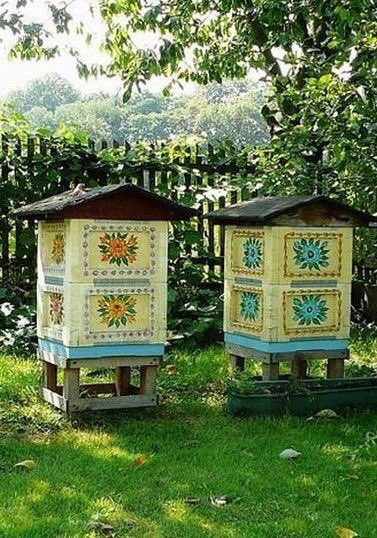 Polish Bee hives...I don't expect the bees care but aesthetically pleasing to the onlooker.
