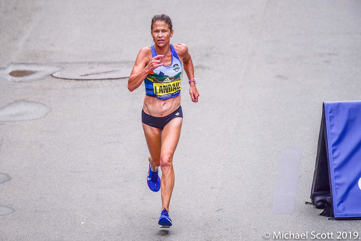 Forty-two year old physicians assistant and single mother Kate Landau is one of the great comeback stories of women's running.  Overcoming eating disorders she battled in her youth, she finished 13th at @BostonMarathon in 2:31:56.  #JHBoston #BostonMarathon #FasterAsAMaster<br>http://pic.twitter.com/7Virg16qpR