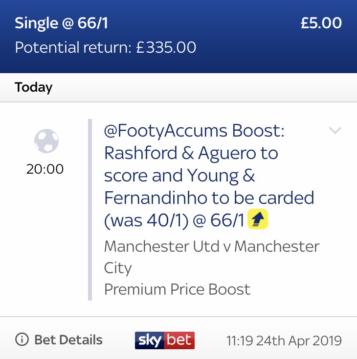 ICYMI: TONIGHTS MANCHESTER DERBY HIDDEN BOOSTED RAB IS LIVE! ❌ WAS - 40/1 (as of 11:15am, 24/04/19) 🙌 NOW - 66/1 Anyone still after the link for this? 18+