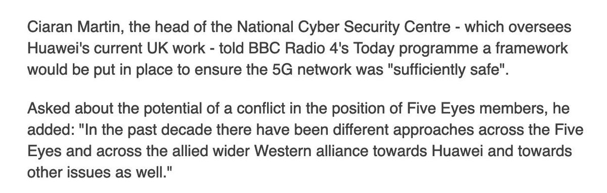 There are significant security concerns, BBC link 2 ^. However, Ciaran Martin, head of the National Cyber Security C entre seems to suggest there maybe some way forward to work with FVEY on this. Please remember each FVEY country is undergoing a culturally unique kind of attack.