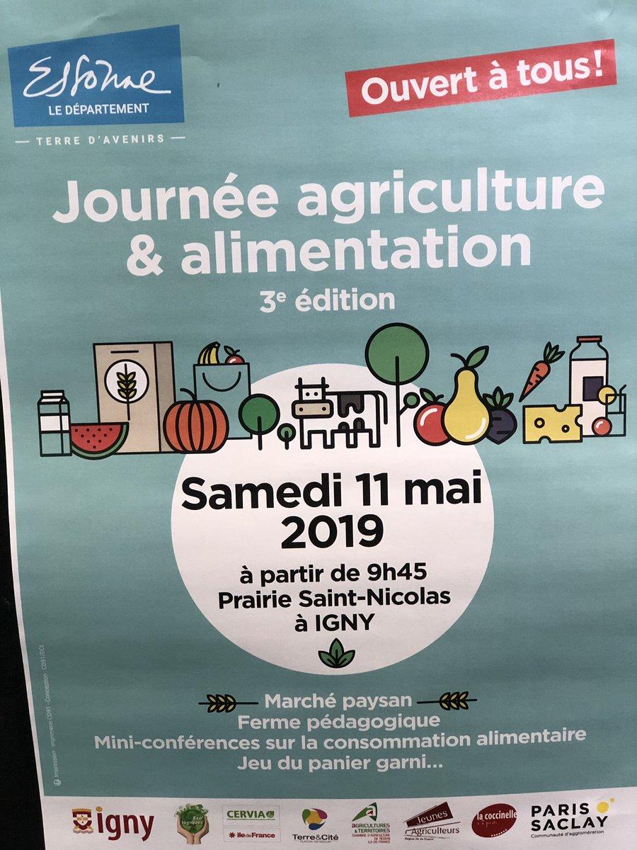 Le 11 mai prochain, l'agglo est partenaire de la journée agriculture et alimentation à @VilleIgny avec @CDEssonne. De nombreuses animations sont prévues : marché paysan, ferme pédagogique, mini-conférences #devdurable Pour en savoir plus : paris-saclay.com https://t.co/07SgzF0Nbu