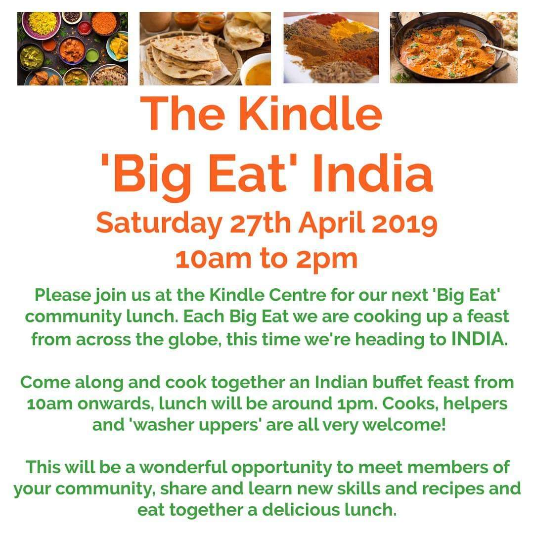 Next &quot;Big Eat&quot; Saturday 27th April 10-2 @KindleSouthWye Indian food<br>http://pic.twitter.com/58cIhzKeaE