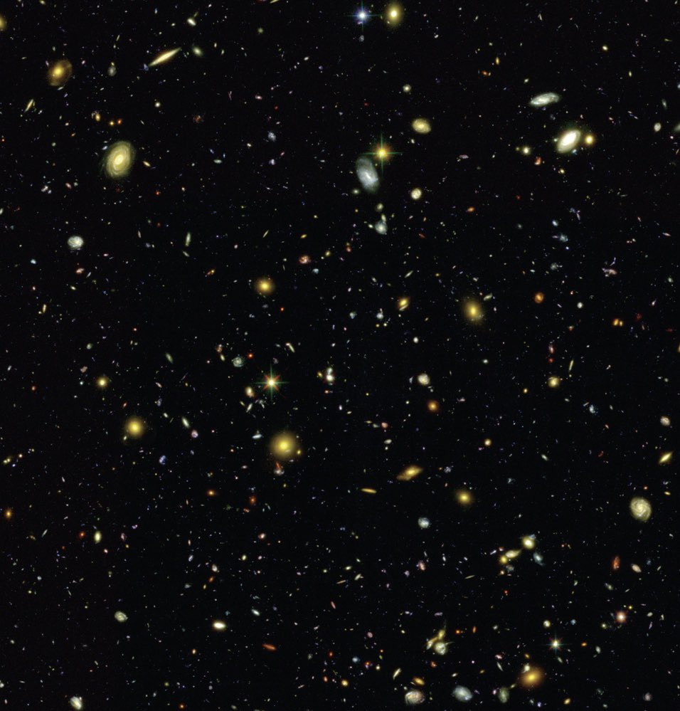 I love these two images.   Left: Hubble's eXtreme Deep Field, the farthest-ever view of the universe showing a multitude of beautiful galaxies Right: Mock observation from the Illustris simulation, showing that simulations can capture the diversity &amp; distribution of real galaxies <br>http://pic.twitter.com/8CuevbQOb5