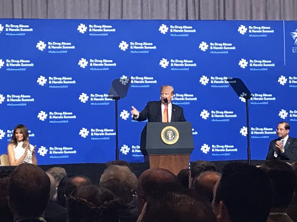 President Donald J. Trump thanks everyone in the room at the #RxSummit2019 and says his administration is doing all they can do to fight right by our side. #Thisiswhywemeet @realDonaldTrump @FLOTUS @RepHalRogers @nihale1956 @uniteky @SecAzar