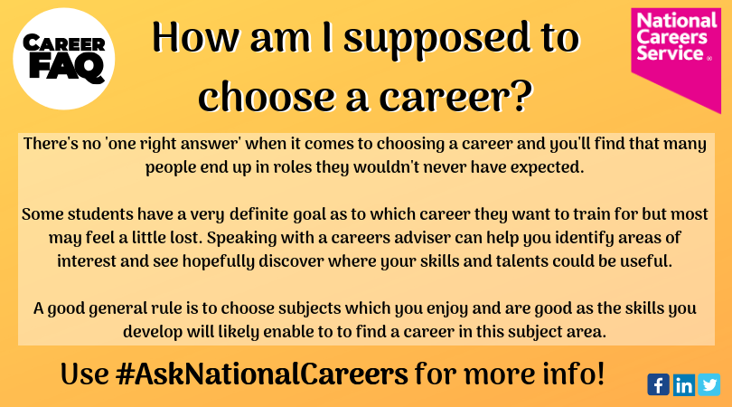 This isn't just a question from those in school or college – many people find it difficult to know what direction to go!  Our advisers are ready and waiting to help you feel more confident about your future!  #AskNationalCareers #WednesdayWisdom #Careers #FAQ