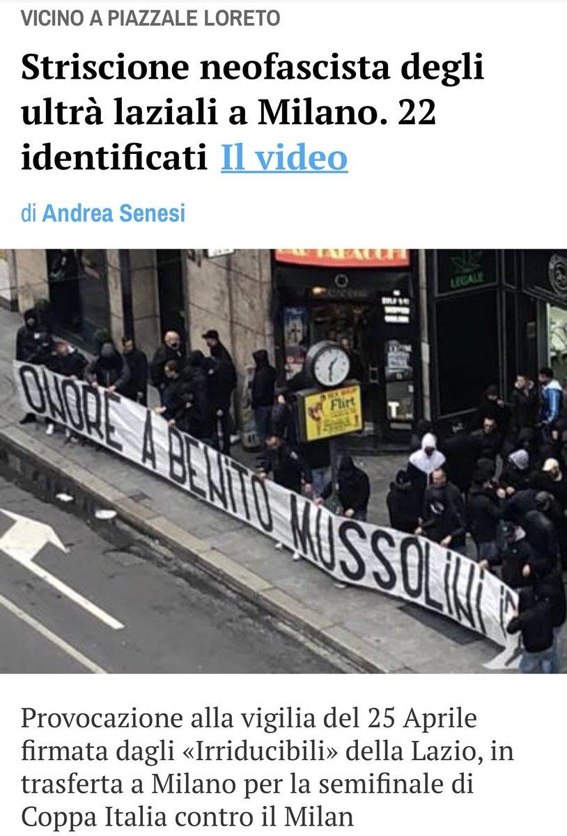 Fanculo il gemellaggio! Questa sera tifo #Milan https://milano.corriere.it/19_aprile_24/striscione-neofascista-ultra-laziali-onore-benito-mussolini-2bffae48-668c-11e9-b785-26fa269d7173.shtml… . . #milanlazio #lazio #amala #coppia