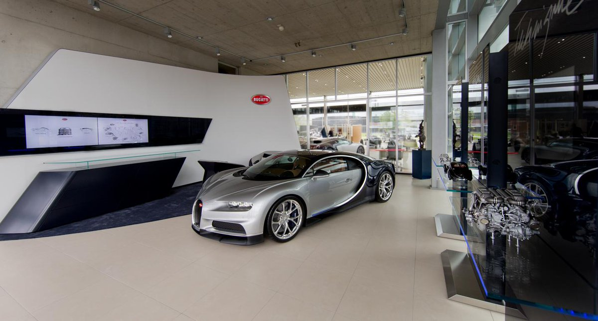 @Bugatti's partner in Duesseldorf/Germany is showing a wide range of brand models from classic beauties up to the latest Chiron model. Due to their excellent customer service they have been named 'partner of excellence' in the Bugatti network. #Bugatti #BugattipartnerDüsseldorf