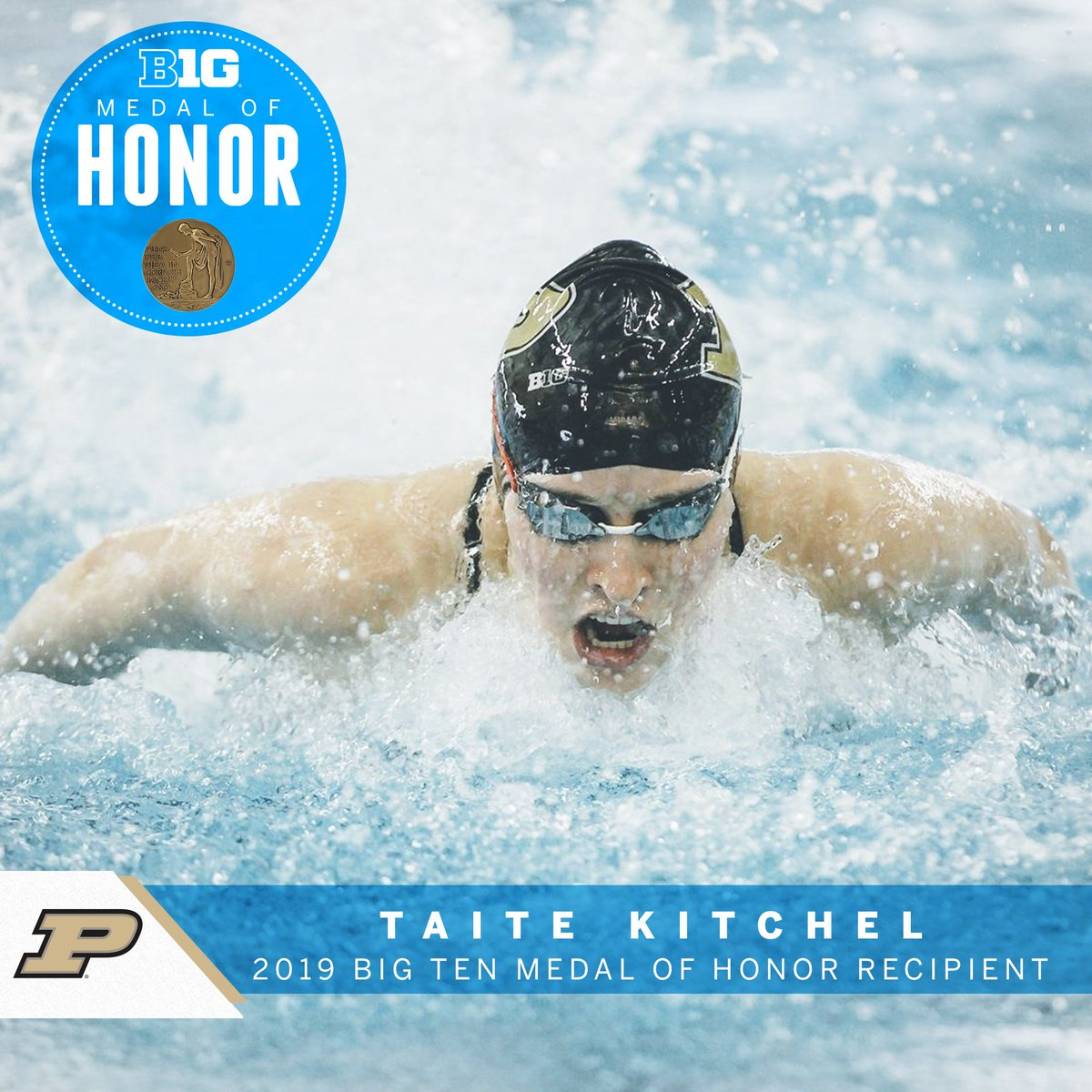 Taite Kitchel was part of a record-setting relay at the Big Ten Championships for three straight seasons. #B1GMOH