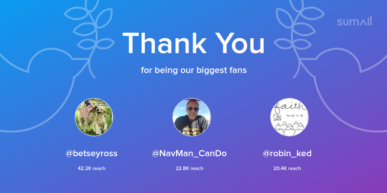 Our biggest fans this week: @betseyross, @NavMan_CanDo, @robin_ked. Thank you! via https://sumall.com/thankyou?utm_source=twitter&utm_medium=publishing&utm_campaign=thank_you_tweet&utm_content=text_and_media&utm_term=218719b261af3568a1d7858d…