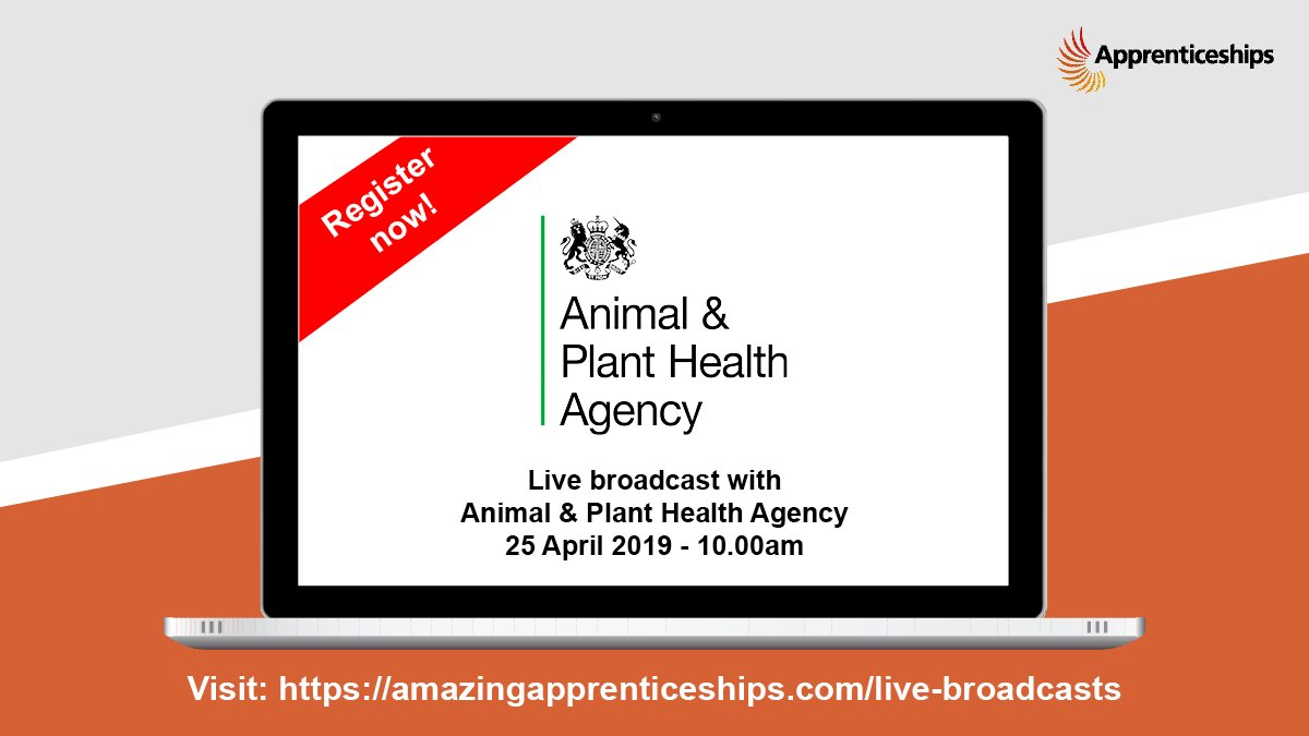 Have you booked for tomorrow's live #apprenticeship broadcast yet? Find out about exciting opportunities with the Animal & Plant Health Agency, great for those with an interest in animals and the environment! https://tinyurl.com/y3ojfatd