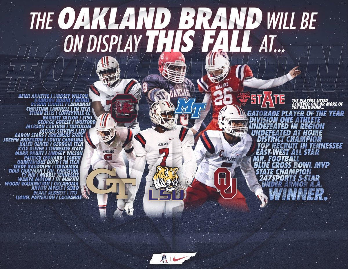 We think this helps explain the constant traffic of college coaches on Patriot Drive. #winnersrecognizewinners #OaklandTN<br>http://pic.twitter.com/H45nVx25nO
