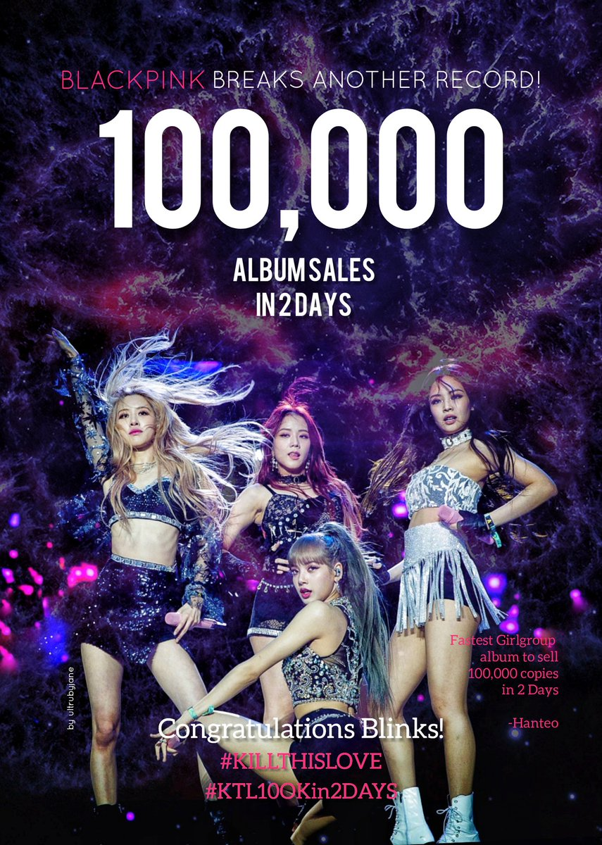 Congratulations to @ygofficialblink  and Blinks! 100K album sales in just 2 days!   #BLACKPINK  #KillThisLove   #KTL100Kin2DAYS<br>http://pic.twitter.com/43yOxngnCi