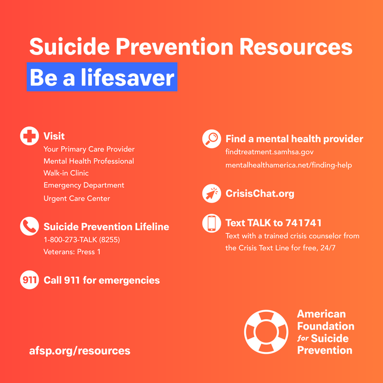 If you are in crisis, please call the National Suicide Prevention Lifeline at 1-800-273-TALK (8255) or contact the Crisis Text Line by texting TALK to 741741. <br>http://pic.twitter.com/AmdSC3KmhM