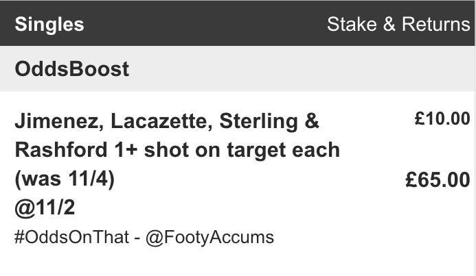 OUR BETFAIR BOOST FOR TONIGHT IS STILL LIVE ON SITE! Jimenez, Lacazette, Rashford & Sterling each to have a shot on target tonight... ❌ WAS: 11/4 ⚡️ NOW: 11/2 18+