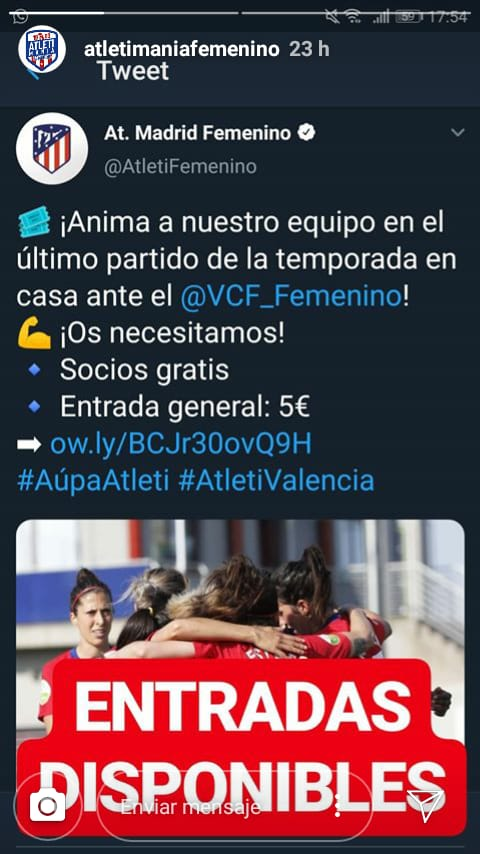 @AtletiFemenino ¿Dónde están las entradas de 5€? https://t.co/2nEu4UO4Is