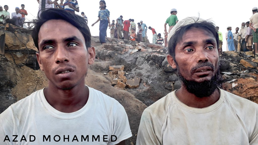 While taking #interview with the #victims of fire,the #interviewers are so sad😭.According to their wetness, there is some #horrible #history. #Rohingya #refugee #camp is like #hell in #hot #season but with the #fire its more worse. @Refugees @hrw_espanol @matthewfsmith @nslwin