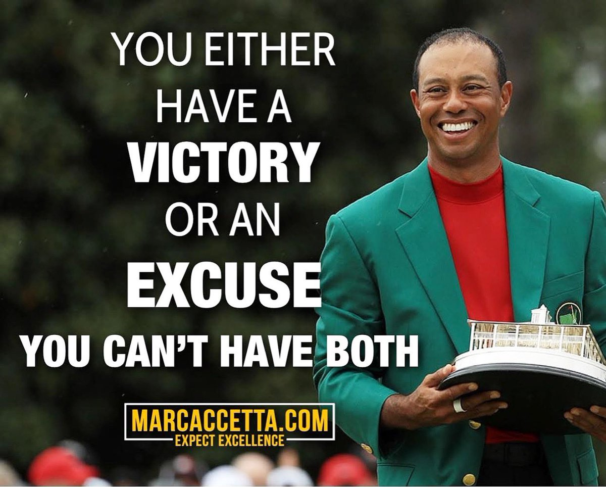 You either have a VICTORY or an EXCUSE... YOU CAN'T HAVE BOTH. #victory #noexcuses #tiger #tigerwoods #comeback #golf #professionalgolfer #champion #golfchampionship #augustanational #themasters #greenjacket #truth #winning #quotes #lifequotes #victoryquotes