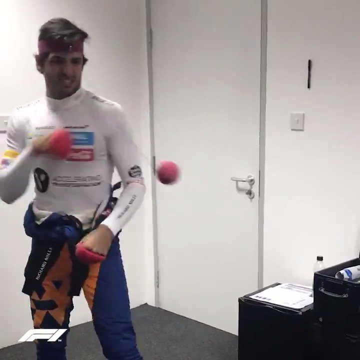 Part-time driver, full-time... vocalist and tennis ball puncher? 🎤  If haven't yet, check out @Carlossainz55's column on the F1 website for a behind-the-scenes take on the first three races of 2019! 📝  https://t.co/GdimNDu5Sy