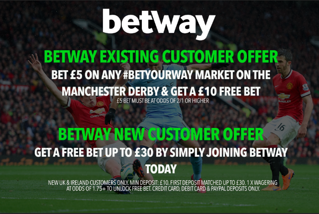 Betway offer for ALL customers tonight! Bet £5 on ANY #BetYourWay market (odds of 2/1 or higher) on tonights Manchester derby... And get a £10 FREE BET! 18+