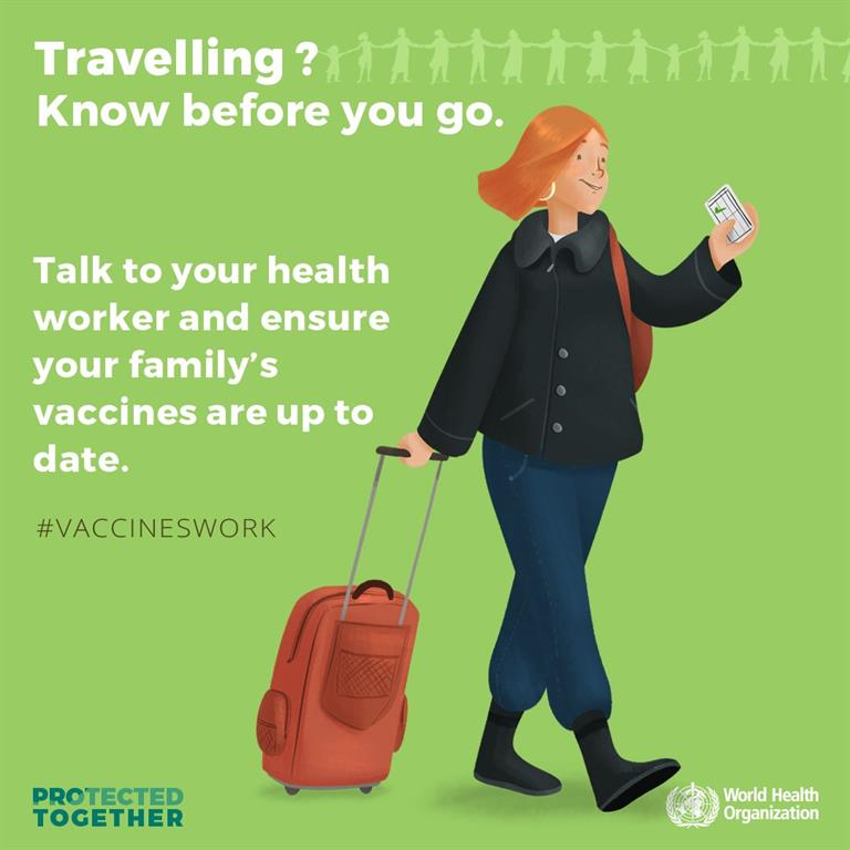 Travelling 🧳?  Know before you go: check with your health worker 👨⚕️👩⚕️ to ensure your family is fully protected.   Yes, #VaccinesWork! 💪