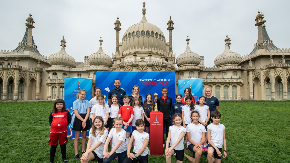 The #FIFAWWC trophy tour hit Brighton yesterday 🏆  Our @Lionesses are in action at @OfficialBHAFC in June, as they face Denmark in their final #RoadToFrance game. Head here for tickets: http://the-fa.com/EsnsOp