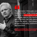 """""""We demand that Assange be set free immediately. We call upon journalists & readers everywhere to raise our voices against the persecution of free, independent & fearless journalism"""" -- acclaimed author Arundhati Roy & others: https://t.co/MFhLYLh5D0 #FreeAssange #Artists4Assange"""