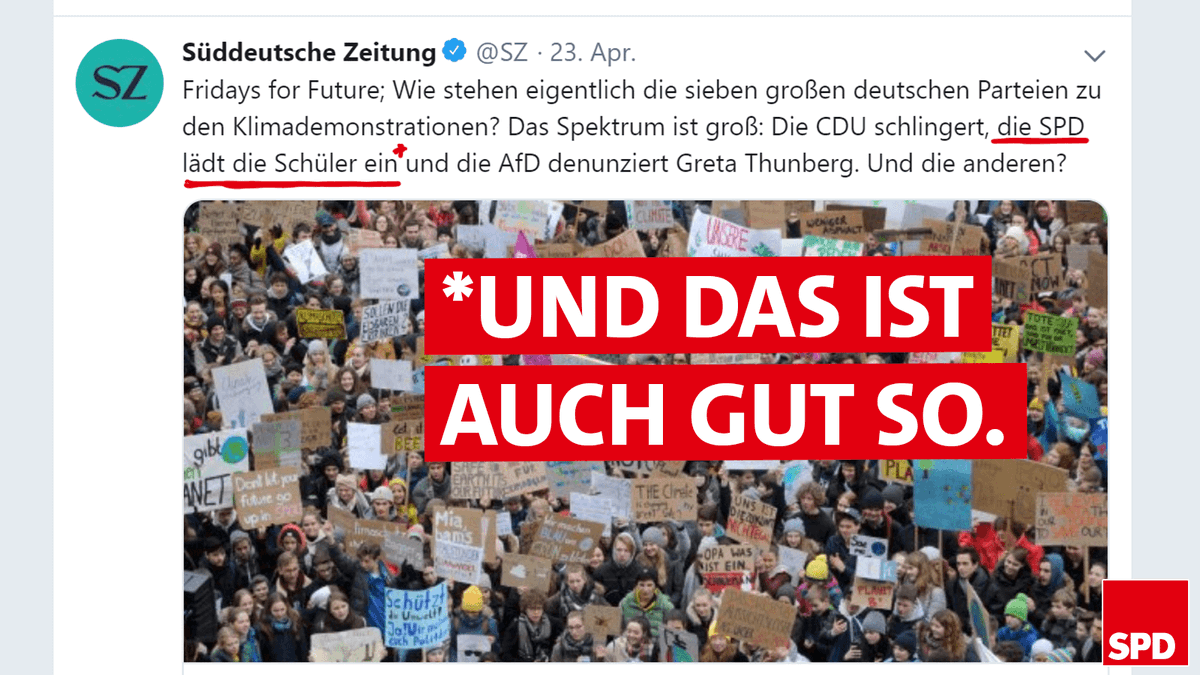 Wer mal wieder die Unterschiede zwischen den Parteien sucht: Hier ist ein weiterer. #FridaysForFuture https://www.sueddeutsche.de/politik/fridays-for-future-parteien-position-spd-cdu-afd-gruene-linke-csu-fdp-1.4417558 …