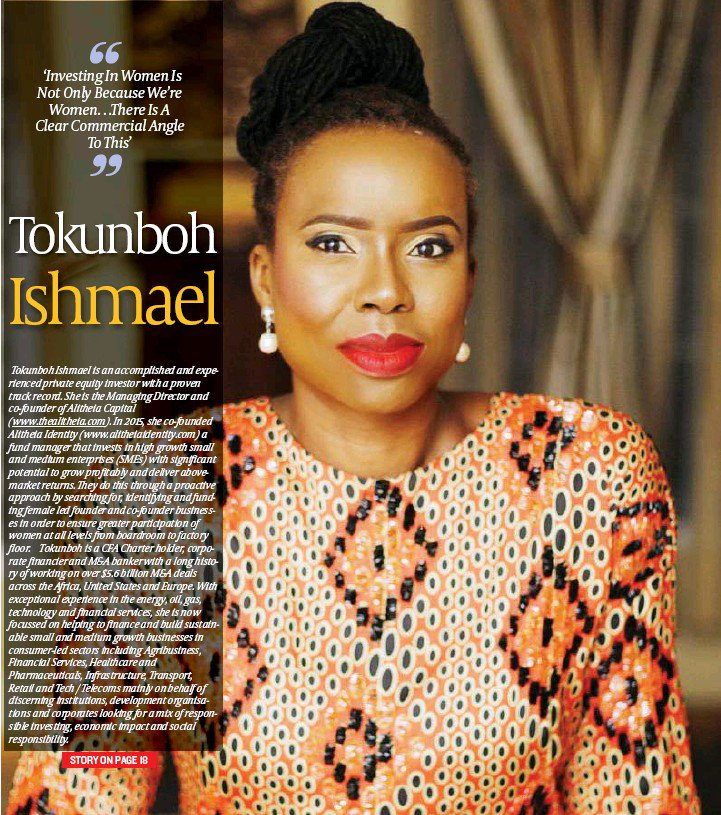 In 2015, @tolushola launched Alitheia Identity, the first women-led private equity fund in Africa, which seeks to influence the role of women at senior levels in Africa and beyond, by funding female founders and co-founders who are building scalable businesses. #MondayMotivation