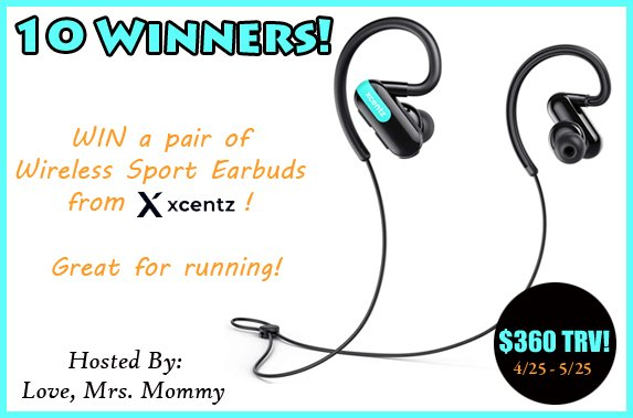 10 Winner #GIVEAWAY! Enter to #WIN a pair of @XcentzOfficial #Bluetooth #Headphones! #Wireless #Sport #Earbuds! Great for #running, #exercising and being on-the-go! @Love_MrsMommy #Contest #Free #Prize https://bit.ly/2ICdilc