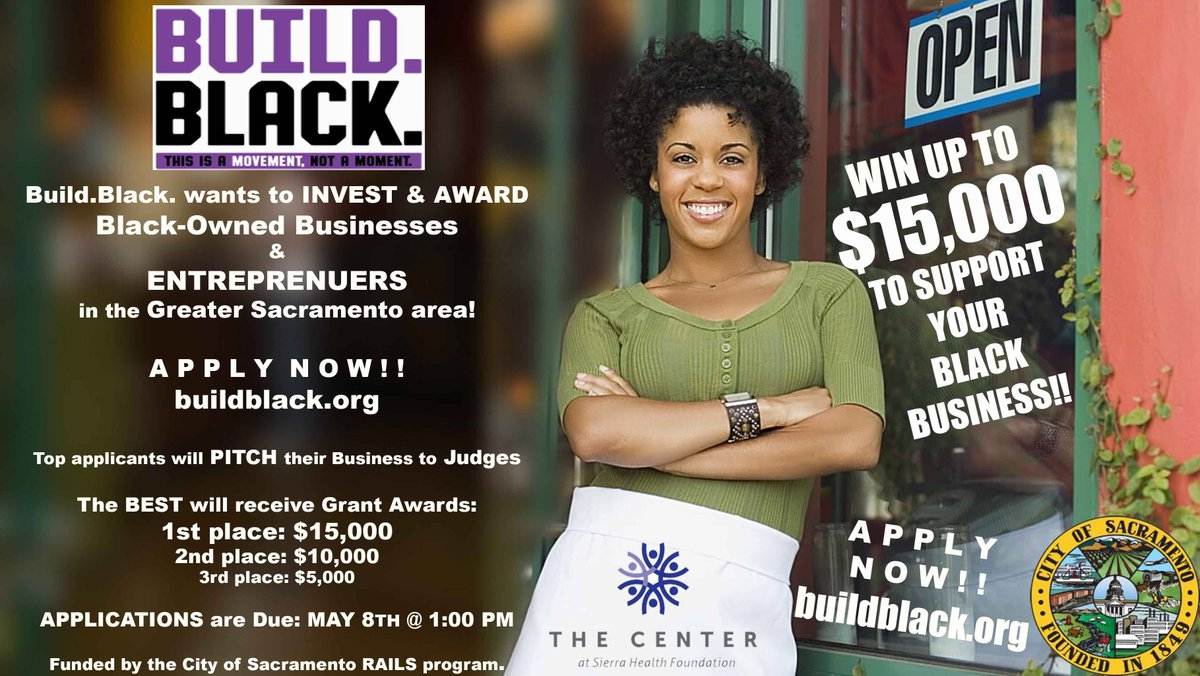 Are you a Black-owned Business or Entrepreneur in Sacramento County? Applications now open for our  http://Build.Black . Awards & Innovation Competition! Win up to $15,000!   Download the application packet at http://buildblack.org .  Applications are due May 8 at 1:00 p.m.