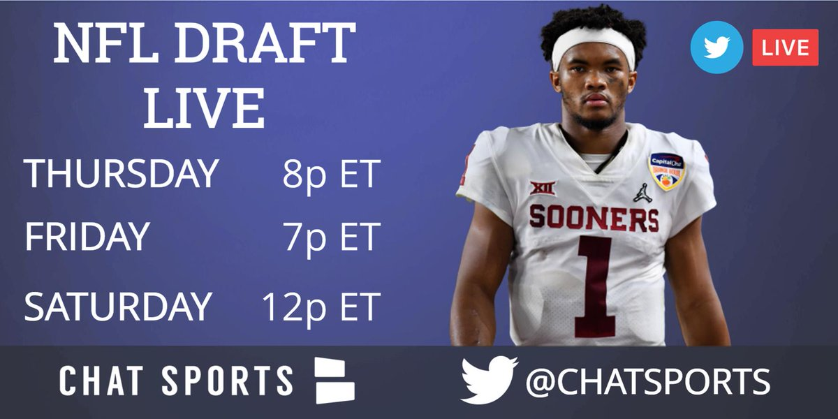Watch the 2019 NFL Draft live with @ChatSports - all 7 rounds, live on Twitter, Facebook & YouTube!   Coverage gets started on Twitter 8pm ET on Thursday 🏈🏈🏈  Twitter: @ChatSports  - YouTube: https://youtube.com/chatsportstv?sub_confirmation=1 …  - Facebook: http://facebook.com/chatsports  _