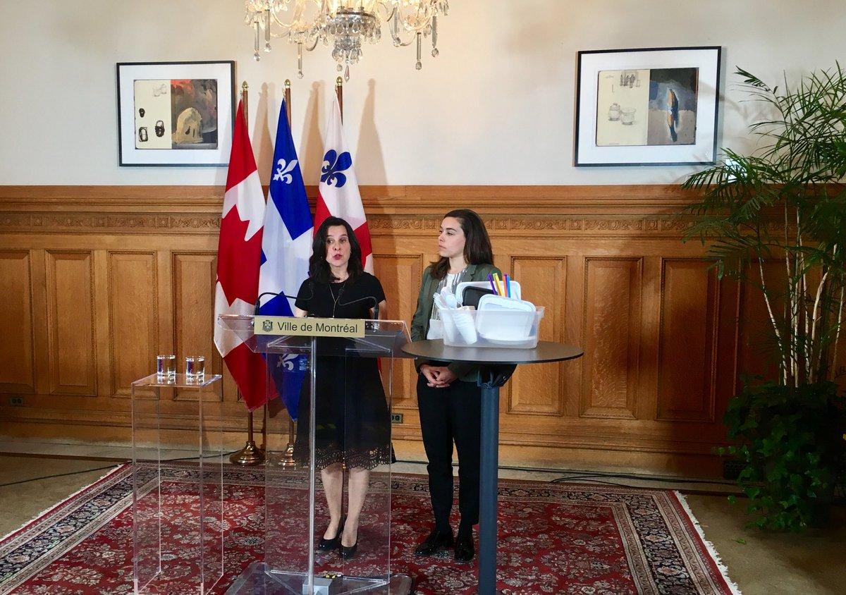«Montréal part en guerre contre les contenants à usage unique» -@LaurenceLavign et mairesse @Val_Plante annoncent nouvelle réglementation à Montréal en 2020 #polmtl   https://ici.radio-canada.ca/nouvelle/1165967/projet-reglement-reduction-articles-usage-unique-montreal…