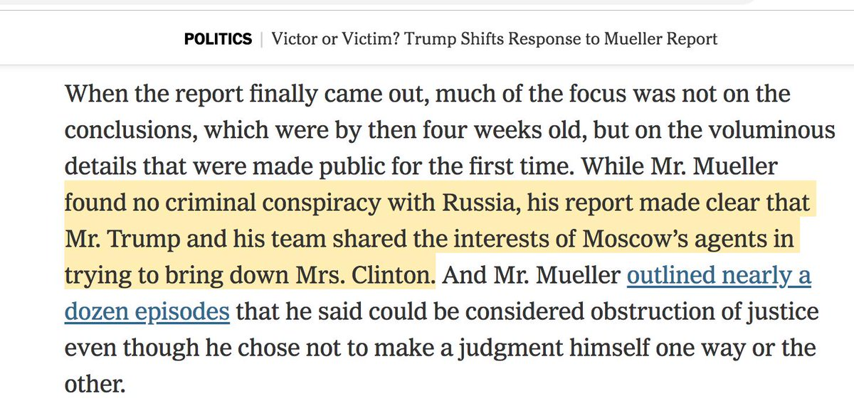 Sure, Trump did not conspire with Russia. But did you know that he &quot;shared the interests of Moscow's agents in trying to bring down Mrs. Clinton&quot; -- aka defeat his opponent in the election he ran in?  https://www. nytimes.com/2019/04/24/us/ politics/mueller-report-trump-administration.html?action=click&amp;module=Top%20Stories&amp;pgtype=Homepage &nbsp; … <br>http://pic.twitter.com/ieEaMssnVX