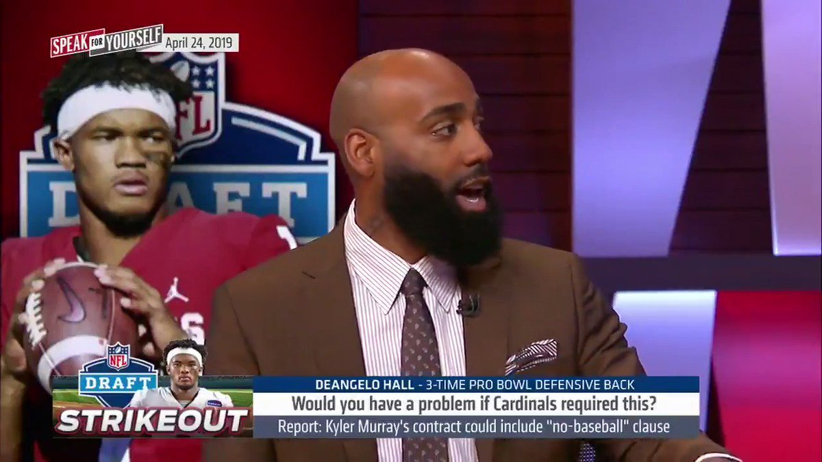 """""""If I'm running this team I think you have to protect yourself… I don't want the first time you get knocked around to feel like you have an out… We're showing our commitment by drafting you.""""  @DeAngeloHall23 on Kyler Murray's contract including a """"no-baseball"""" clause"""