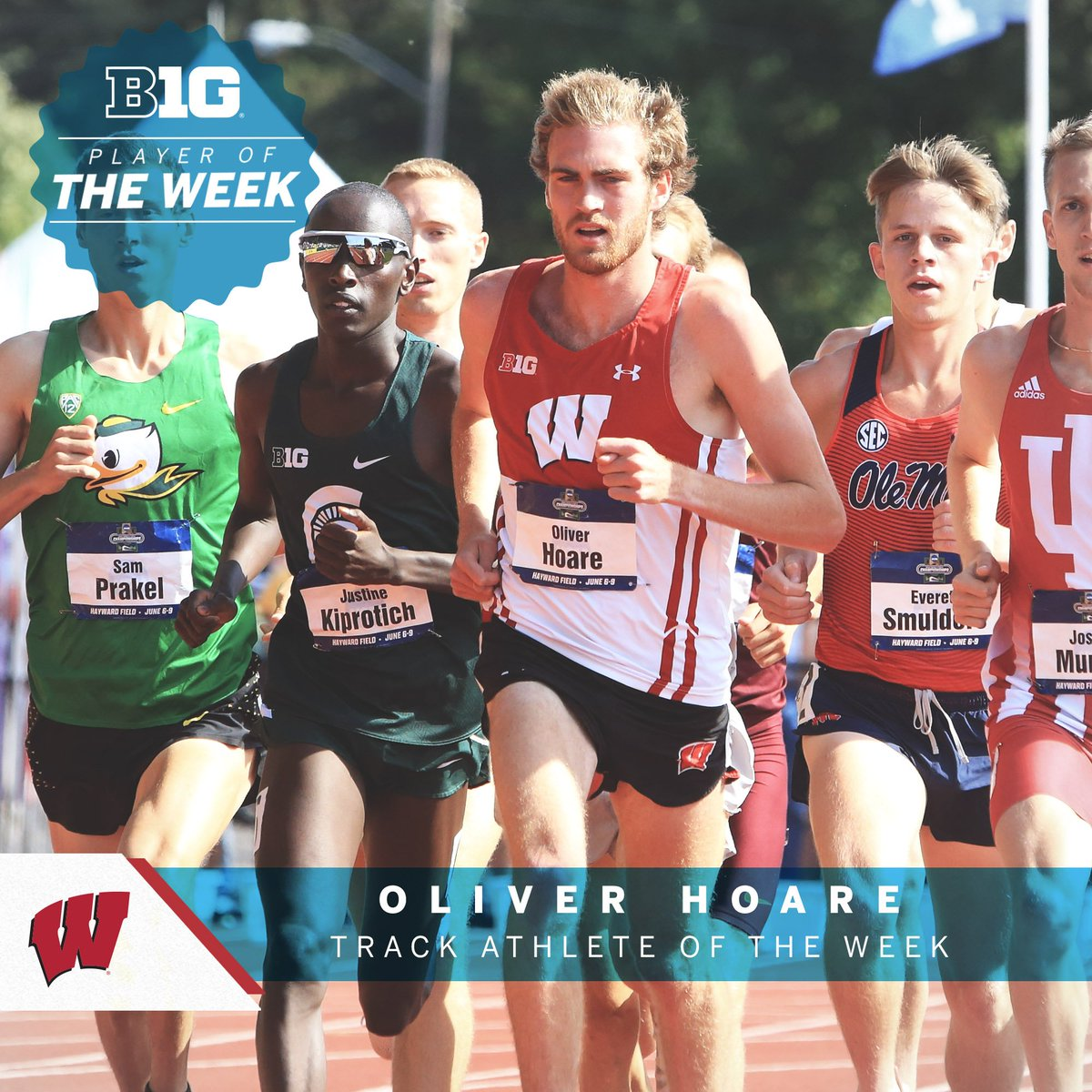 Oliver Hoare of @BadgerTrackXC set a world-leading time in the 1,500-meter run (3:37.20) at the Bryan Clay Invitational last weekend, earning #B1GTF Outdoor Track Athlete of the Week honors