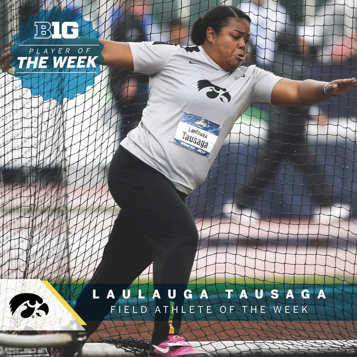 Laulauga Tausaga of @IOWAXC_TF picked up her third consecutive #B1GTF Outdoor Field Athlete of the Week honor and fourth of her career, breaking three school records and winning all three field events at last weekend's Mt. SAC Relays and Beach Invitational in southern California