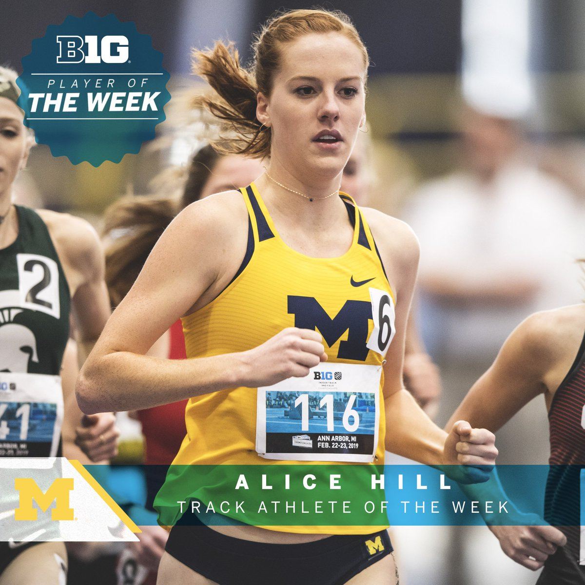 Alice Hill of @UMichTrack collected her first #B1GTF Outdoor Track Athlete of the Week award after posting the Big Ten's best time this year in the 3,000-meter steeplechase (10:04.58) in last weekend's Cardinal Classic at Stanford
