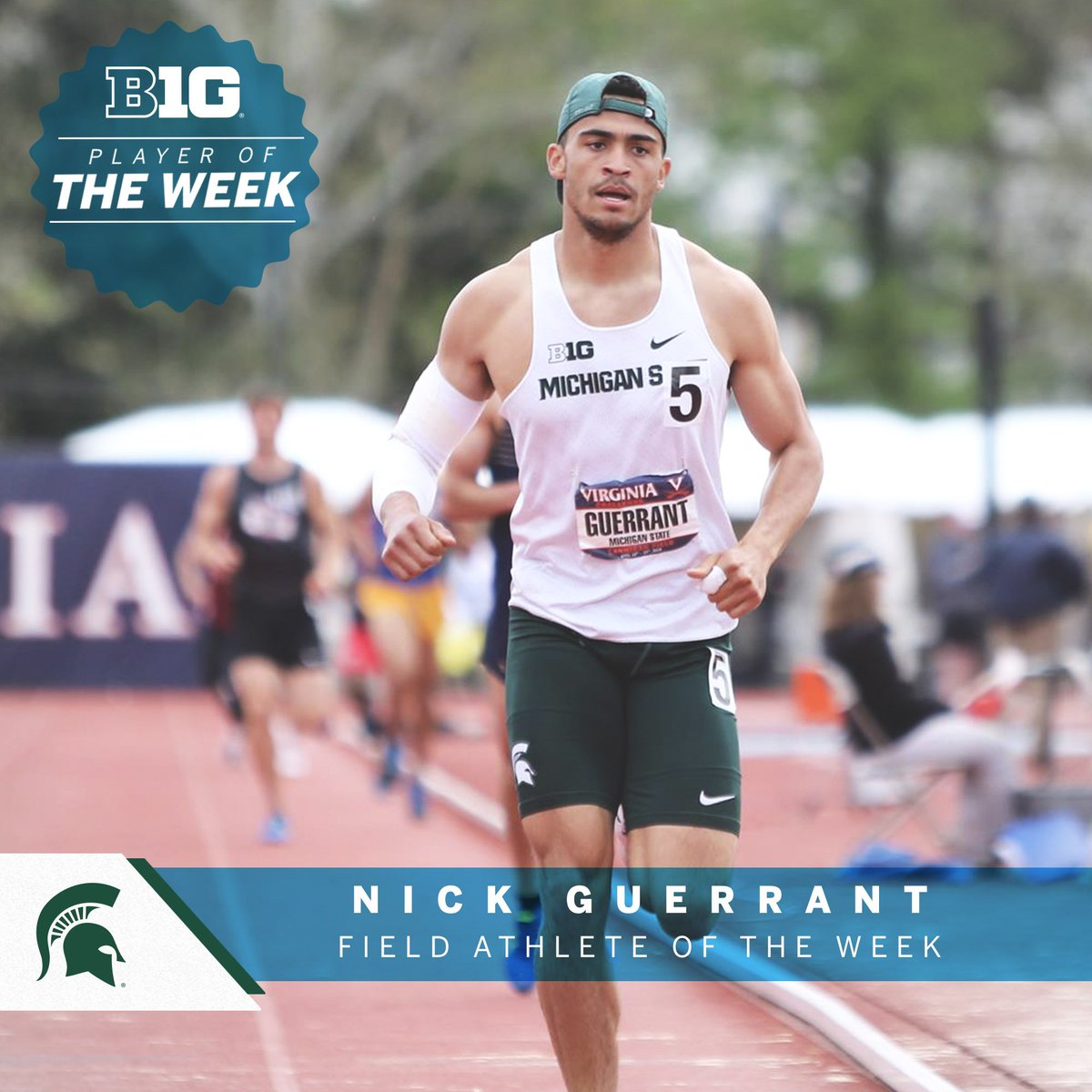 Nick Guerrant of @MSUTrackFieldXC finished first in the decathlon last weekend at the Virginia Challenge (7,632 points) and now ranks eighth in the nation and first in the Big Ten, securing #B1GTF Outdoor Field Athlete of the Week plaudits